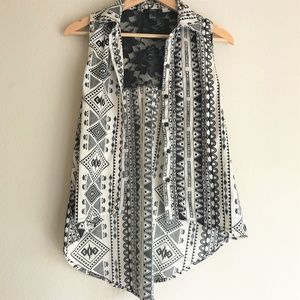 F21 Tribal Print Lace Sleeveless Tank